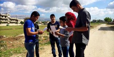 Syrian actors rehearsing