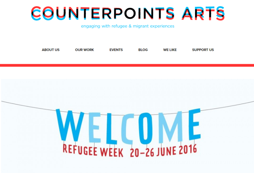 Image of homepage of Counterpoints Arts