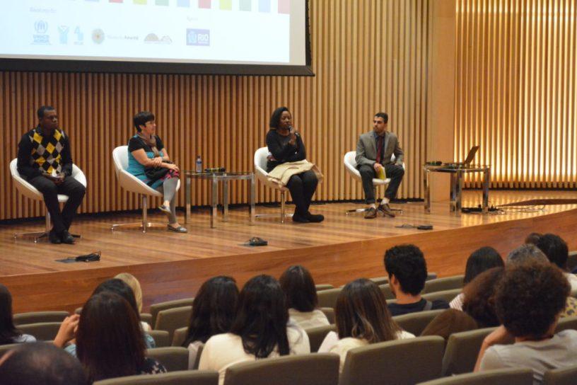 Intervenientes no seminário organizado pela ONU Brasil no Museu do Amanhã em Rio de Janeiro