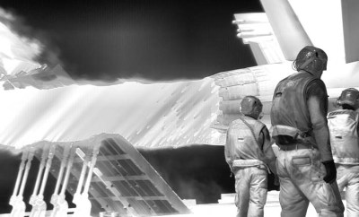 Still frame from Incoming, 2015–2016. Three screen video installation by Richard Mosse in collaboration with Trevor Tweeten and Ben Frost. Courtesy of the artist, Jack Shainman Gallery, New York, and carlier | gebauer, Berlin.